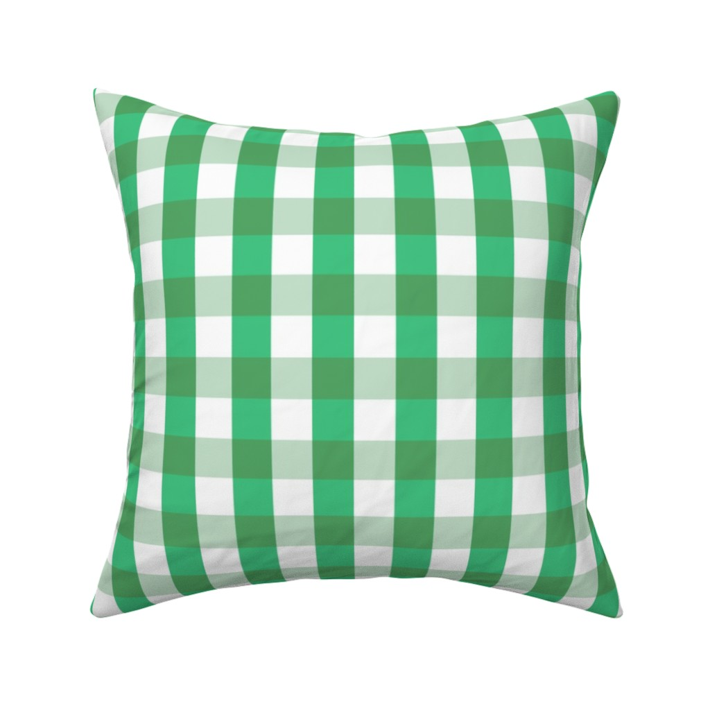 Catalan Throw Pillow featuring Garden Green  Gingham by paper_and_frill