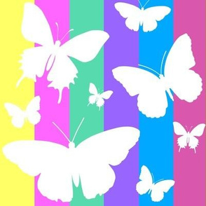 Butterflies on Pastel Stripes