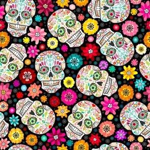 Colorful Sugar Skulls on Black