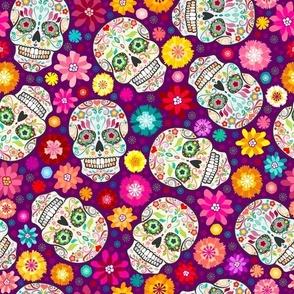 Colorful Sugar Skulls on Purple