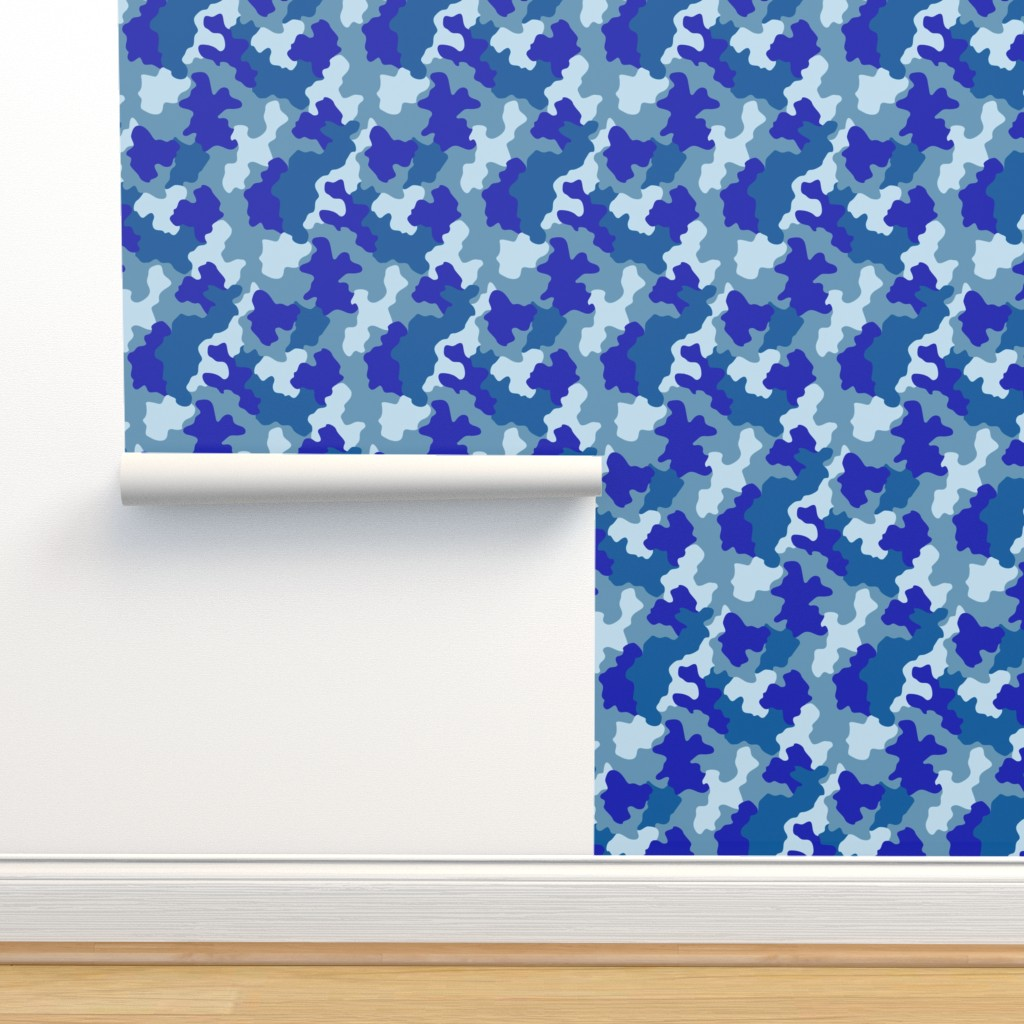 Isobar Durable Wallpaper featuring Blue Camo by kimsa