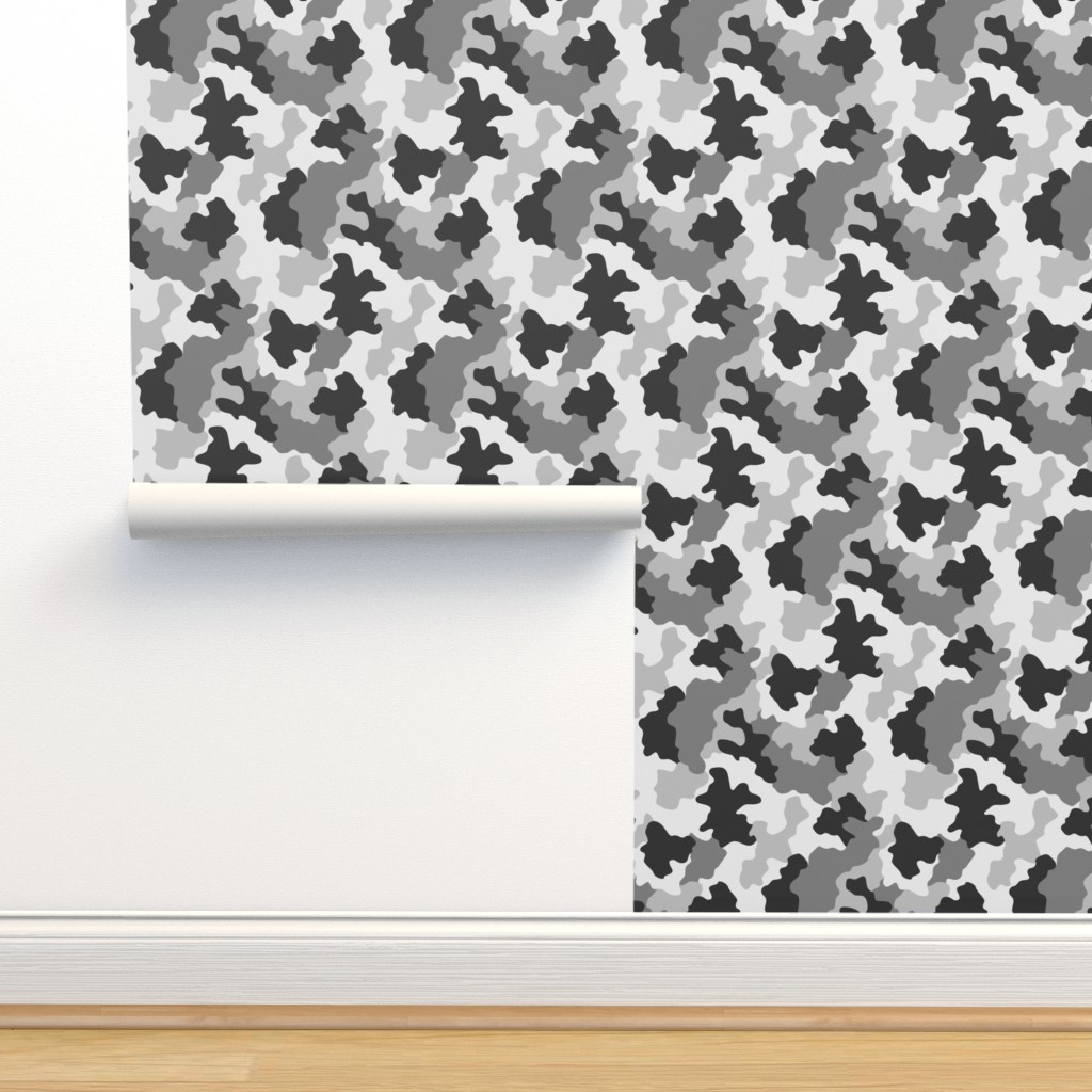 Isobar Durable Wallpaper featuring Black and white Camo by kimsa