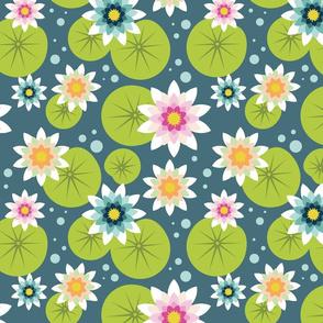 Lotus flower on blue