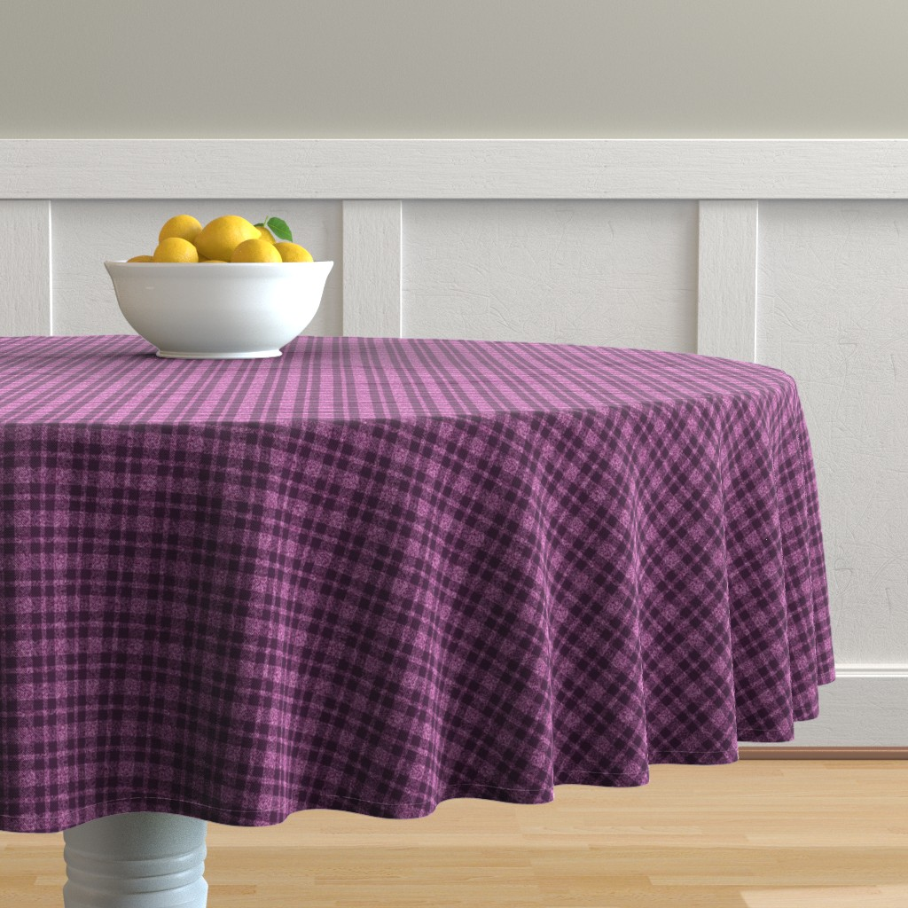 Malay Round Tablecloth featuring CD30  - Tiny - Speckled  Lilac-Orchid and Eggplant Purple Plaid by maryyx