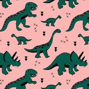 Cool Scandinavian kids dino friends dinosaur pattern girls peach dark green