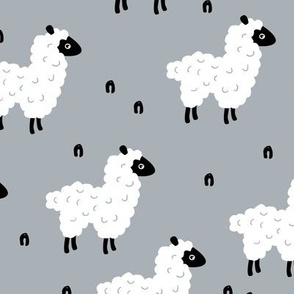 Cute little sheep design abstract white baby llama cool gray