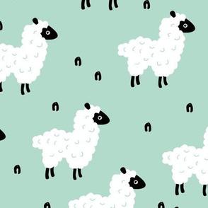 Cute little sheep design abstract white baby llama mint green