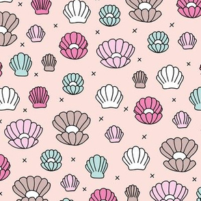Deep sea shells and pearls mermaid theme ocean shell illustration girls pink peach