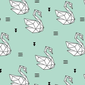 Sweet romantic geometric swan summer japanese paper origami print mint