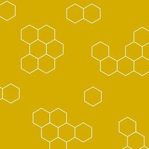 Abstract geometric honeycomb bee lovers honey print ochre yellow