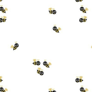 Cute little bumble bee spring summer print design black and white mustard yellow gender neutral