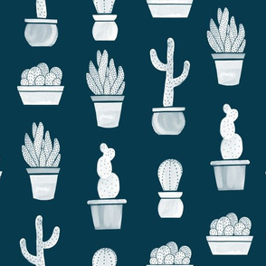 White Watercolor Cactus On Blue