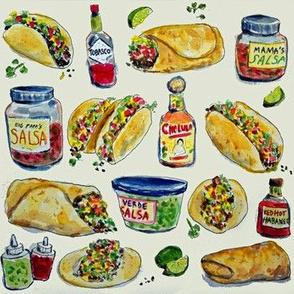 Tacos Burritos Hot Sauce and Salsa