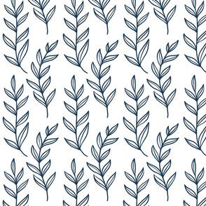 Blue Leaves On White