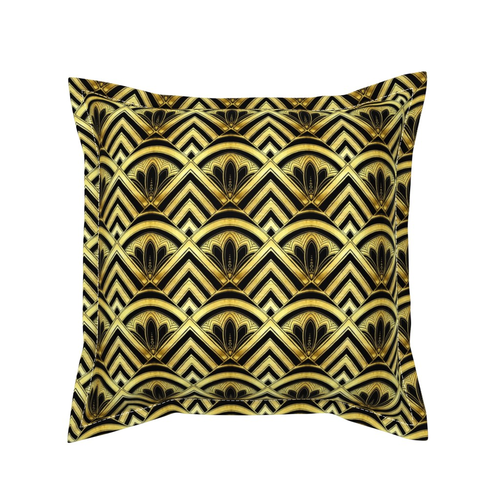 Serama Throw Pillow featuring art deco diamond scales by beesocks