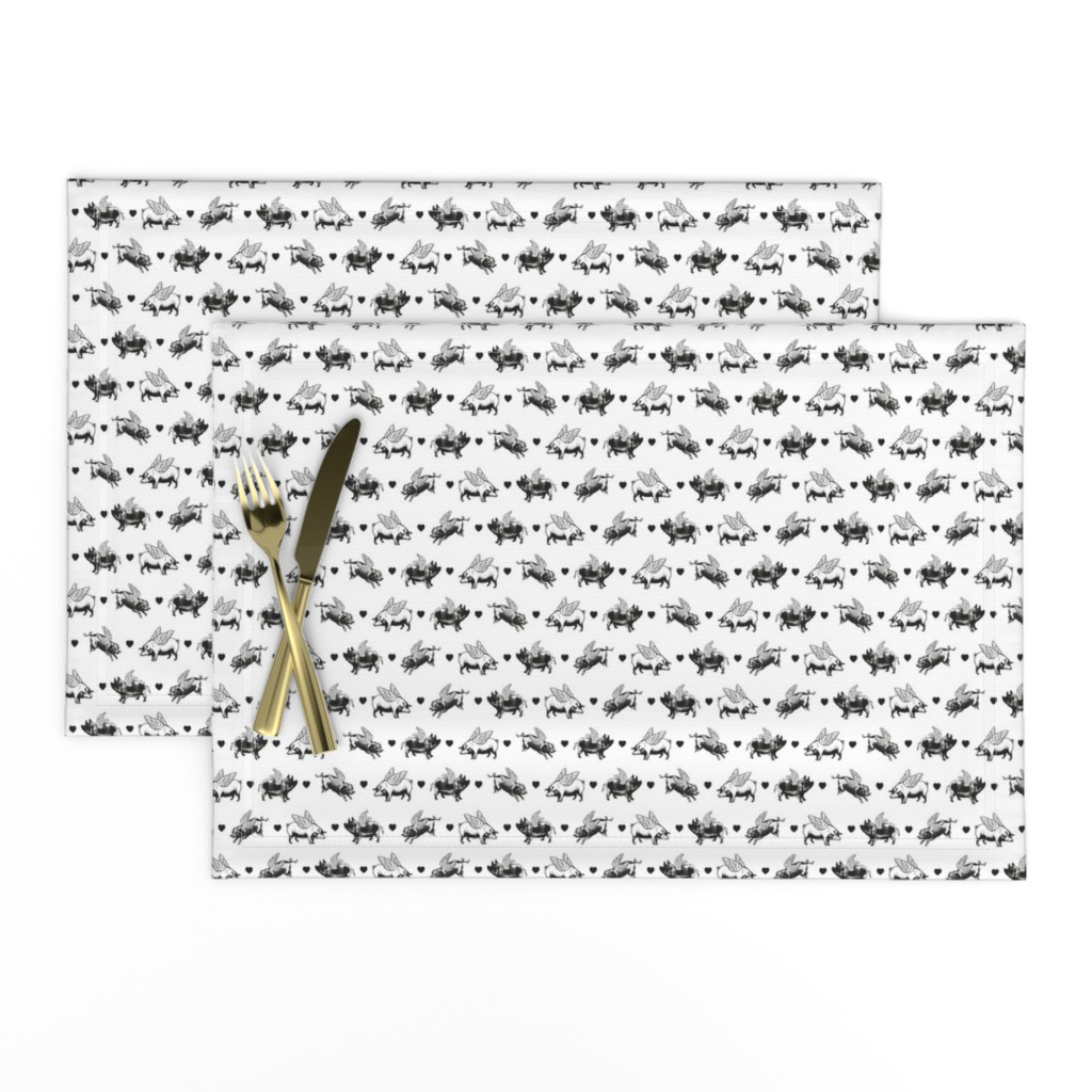 Lamona Cloth Placemats featuring Vintage Flying Pigs   Black and White by eclectic_at_heart