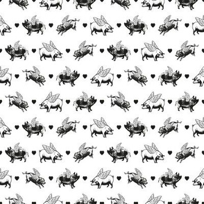 Vintage Flying Pigs | Black and White