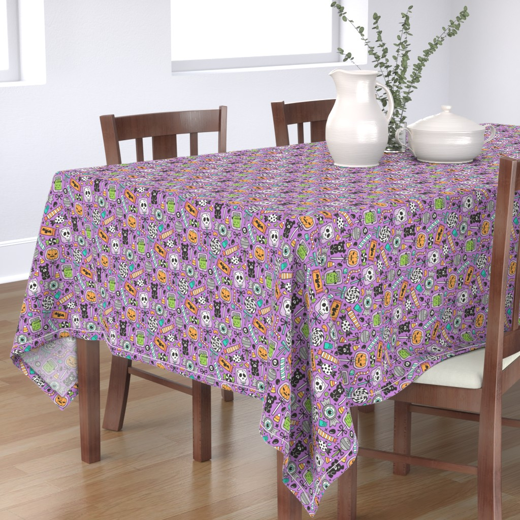 Bantam Rectangular Tablecloth featuring Trick or Treat Halloween Fall Candy on Dark Purple by caja_design