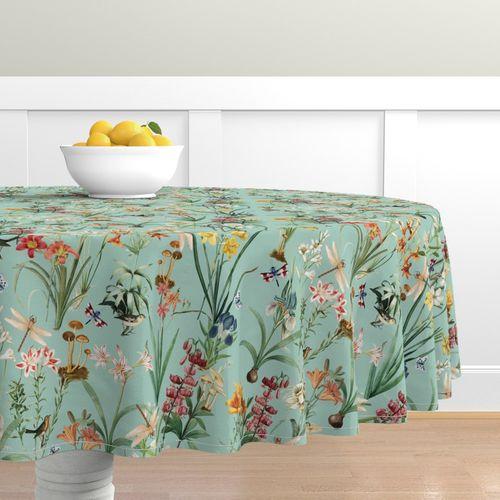 Round Tablecloth Garden Floral Birds Botanical Dragonflies Vintage Cotton Sateen