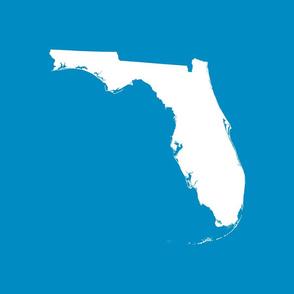 "Florida silhouette - 18"" white on bright blue"