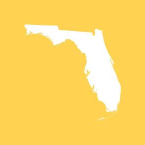 """Florida silhouette - 18"""" white on yellow"""