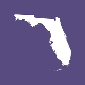 "Florida silhouette - 18"" white on purple"