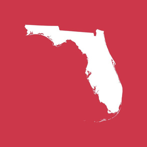 """Florida silhouette - 18"""" white on red"""