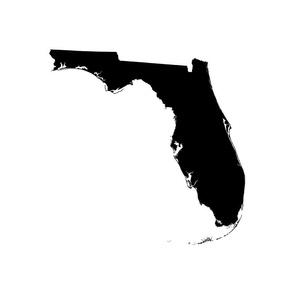 "Florida silhouette - 18"" black and white"