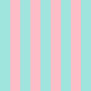 light teal and light pink stripes 2in :: halloween vertical