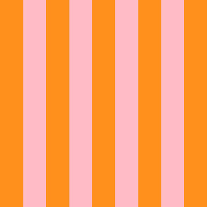orange and light pink stripes 2in :: halloween vertical