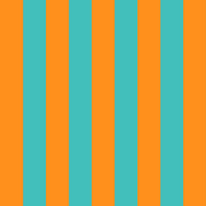 orange and teal stripes 2in :: halloween vertical