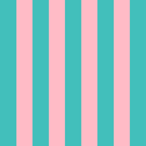 teal and light pink stripes 2in :: halloween vertical