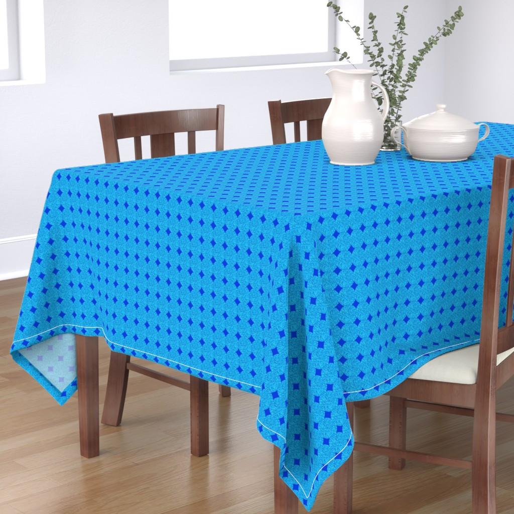 Bantam Rectangular Tablecloth featuring CD44 - Polka Dot Solidarity in Blue and Aqua by maryyx