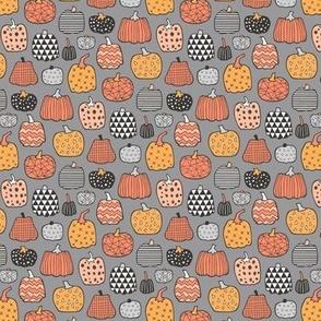 Geometric Pumpkin Fall Halloween in Black&White Orange on Grey Tiny Small 1 inch