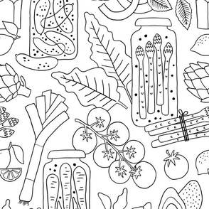 Fresh vegetables and pickled veggies coloring