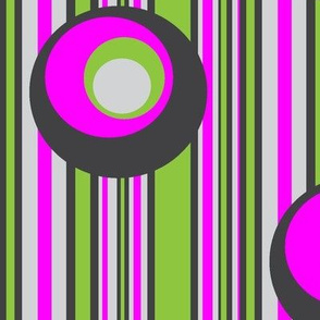 Wonky Circles on Wonky Stripes Green with Purple