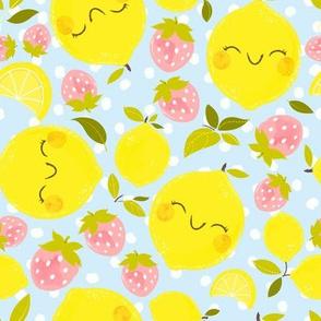 Strawberry Lemon Pattern Blue - Larger Print