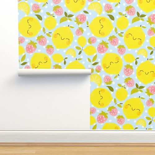 Strawberry Lemon Pattern Smaller Print Spoonflower