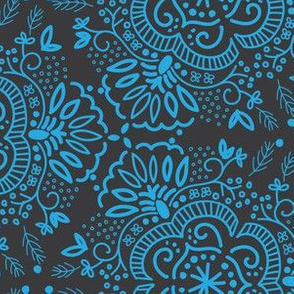 Hand-Drawn Symmetric Blue in Gray Floral