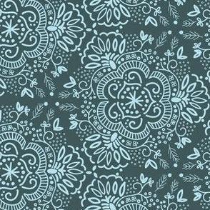 Hand-Drawn Symmetric Teal Floral