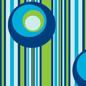 Wonky Circles on Wonky Stripes Blues with Green