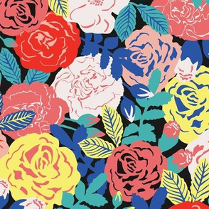 Retro Roses on black / large scale