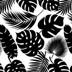 Tropical Leaves - Black on White