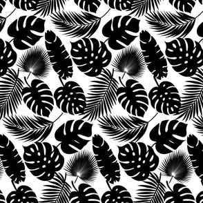Tropical Leaves - Black on White - Small Scale
