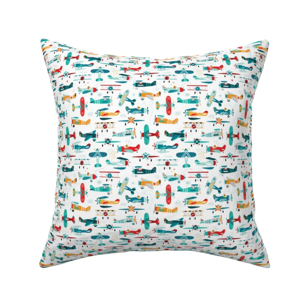 Catalan Throw Pillow featuring airplanes pattern  by artn'lera