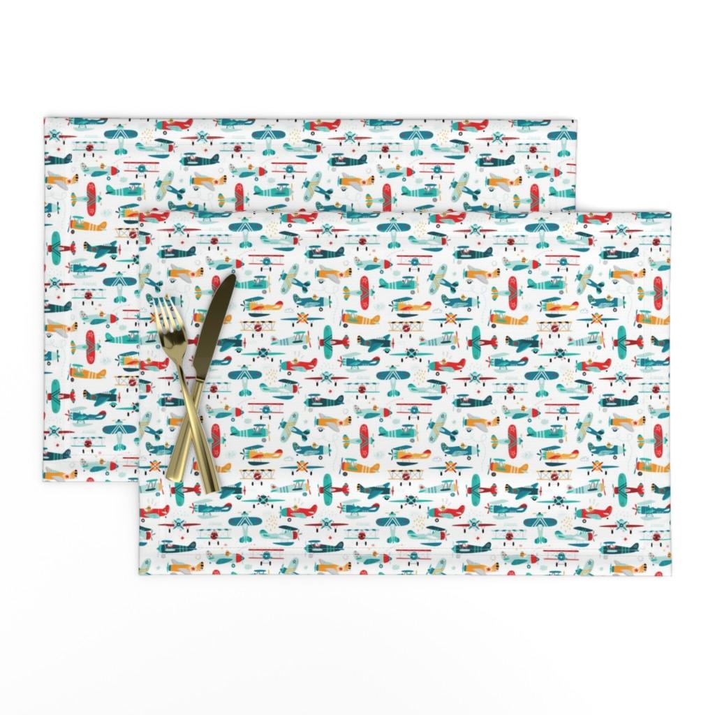 Lamona Cloth Placemats featuring airplanes pattern  by artn'lera