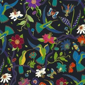 Hummingbirds and Passion flowers - cloisonne - medium