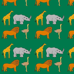 AF_2508_H African Lion, Ostrich, Rhino and Giraffe on Green