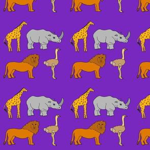 AF_2508_K African Lion, Ostrich, Rhino and Giraffe on Purple Violet
