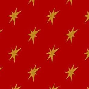 Golden Stars on Red